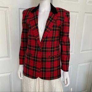 SAG Harbor Red Tartan Wool Blazer